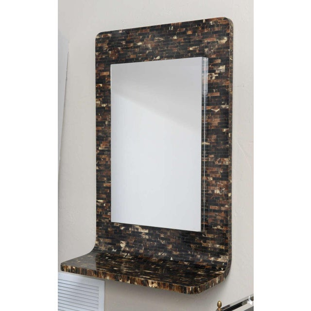Tessellated Horn Wall-Mounted Console Mirror For Sale - Image 10 of 10