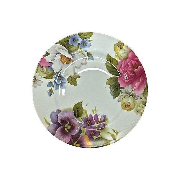 Vintage Porcelain Limoges Floral Plates - Set of 6 For Sale - Image 5 of 7