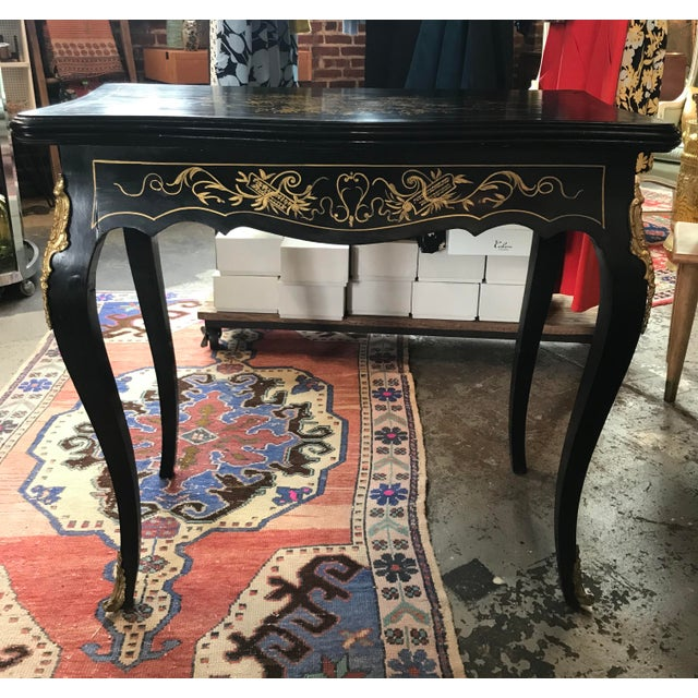 20th Century Hollywood Regency French Boulle Style Brass Game Table Console For Sale In New York - Image 6 of 11