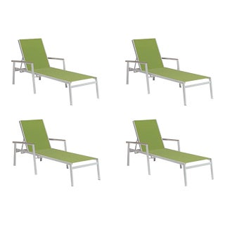 Outdoor Sling Chaise Lounge, Vintage and Green (Set of 4) For Sale