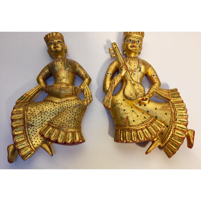 Vintage Indian Carved Wood Rajasthani Female Musicians Sculptures - a Pair For Sale In Los Angeles - Image 6 of 12