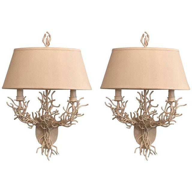 Palm Beach Metal Coral Wall Light Sconces - a Pair For Sale - Image 11 of 11