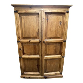 Mission Style Large Pine Office Armoire For Sale