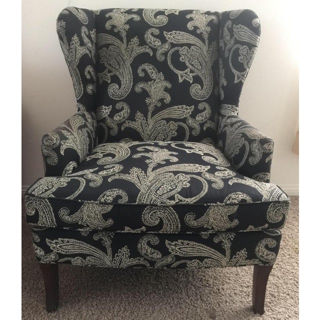 2000 - 2009 Kravet Black and White Paisley Fabric Upholstered Wingback Chair For Sale - Image 5 of 6