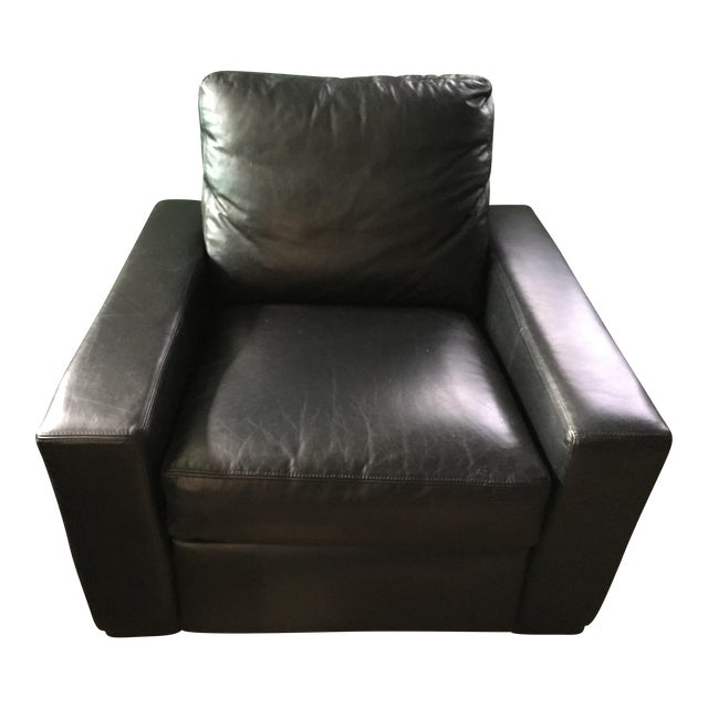 Restoration Hardware Black Leather Maxwell Recliner - Image 1 of 4