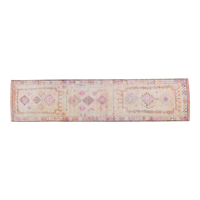 1950s Vintage Kurdish Geometric Floral Wool Hand-Knotted Runner For Sale