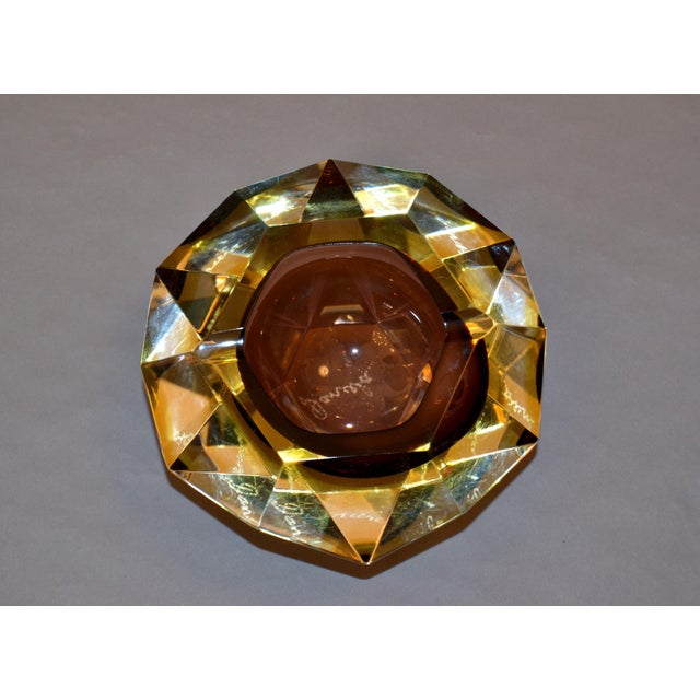 Murano Glass Sommerso Signed Multi Faceted Murano Glass Ashtray Attributed to Flavio Poli, Italy For Sale - Image 4 of 12