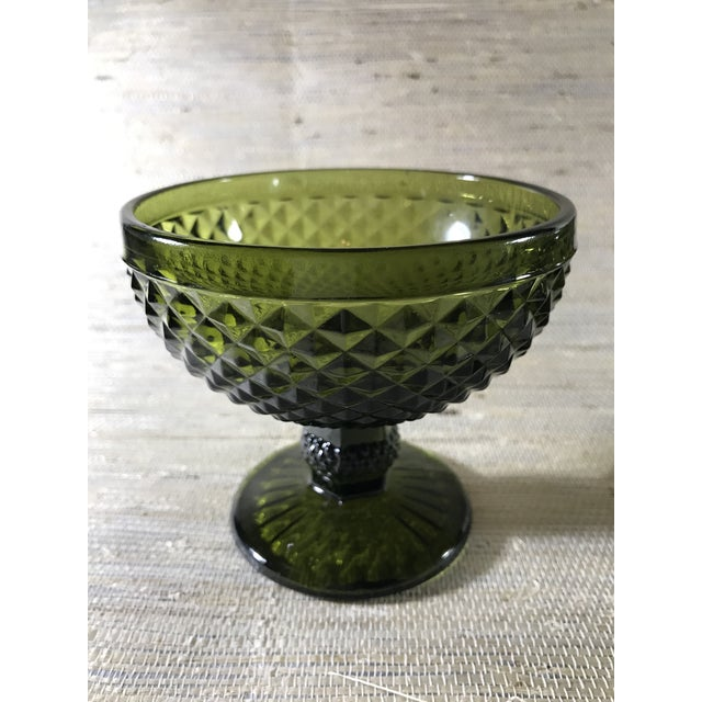 Mid-Century Modern Mid-Century Textured Green Glass Goblets- A Pair For Sale - Image 3 of 5