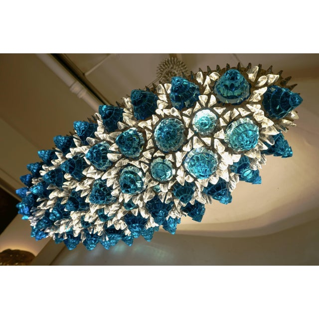 Contemporary Italian Turquoise Blue & Clear Glass Oval Silver Flush / Chandelier For Sale - Image 9 of 13