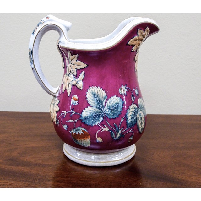 19th Century Davenport Pottery Strawberry Pitcher - Image 6 of 7