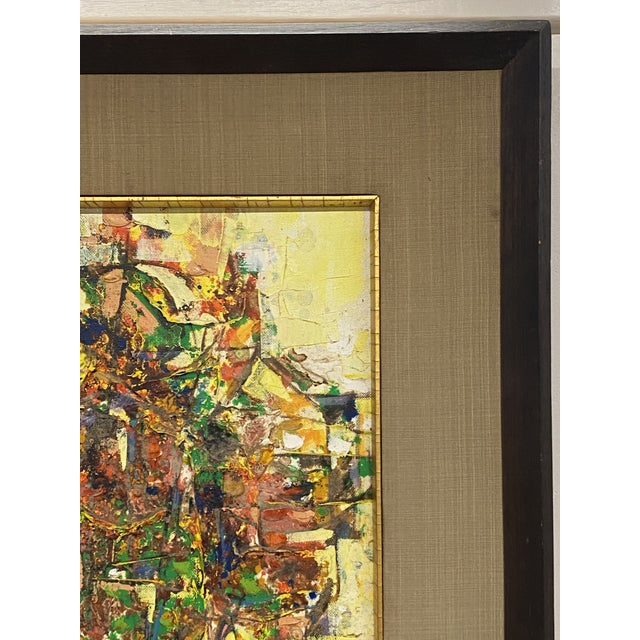 1970s Vintage 1971 Signed Oil on Canvas Abstract Framed Art Painting Colorful For Sale - Image 5 of 8