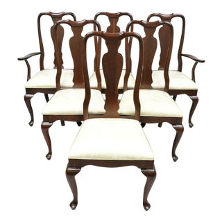 Set of 6 Ethan Allen Georgian Court Queen Anne Cherry Dining Chairs For Sale
