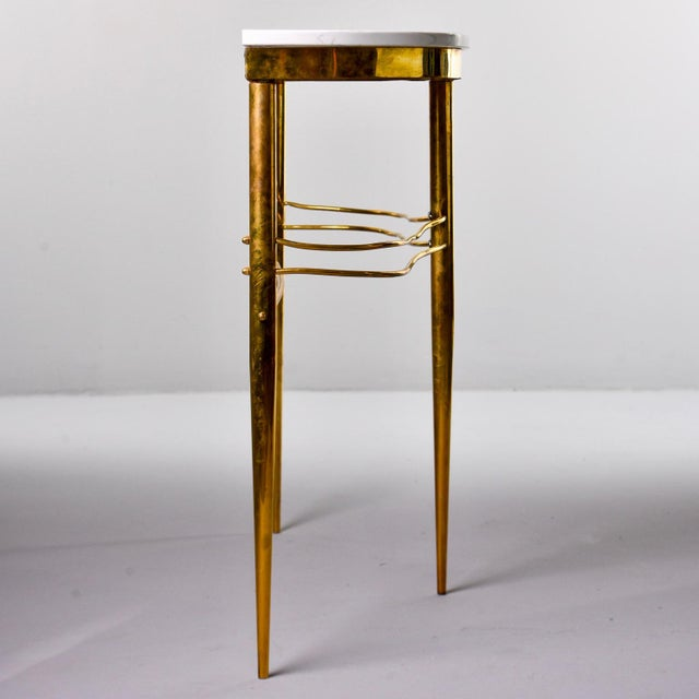 Italian Mid-Century Italian White Marble Top Console With Brass Base For Sale - Image 3 of 11