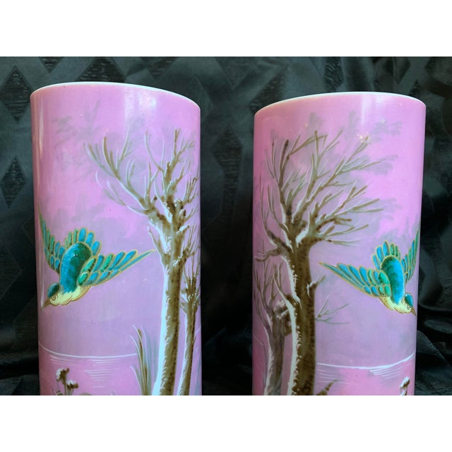 Baccarat 19th Century French Baccarat Opaline Pink & White Glass Vases - a Pair For Sale - Image 4 of 13