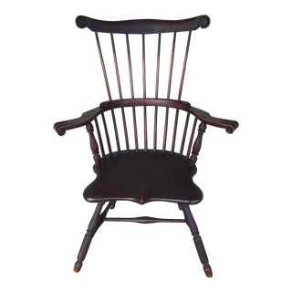 Antique 19th Century Serpentine Comb Back Arm Chair