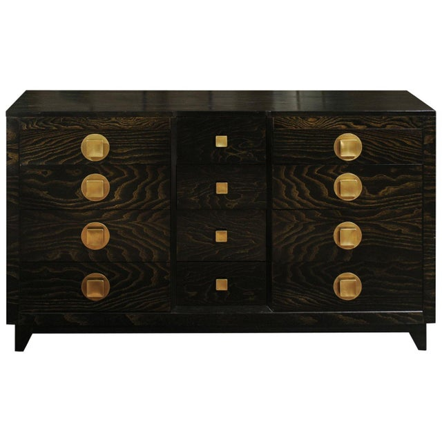Sublime Restored Cerused Oak and Brass Commode by John Stuart, Circa 1950 For Sale - Image 13 of 13