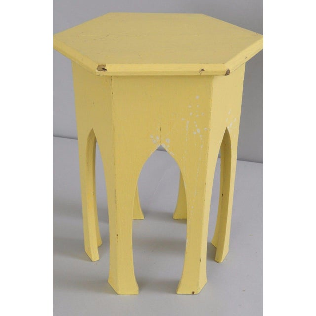 Antique Primitive Rustic Moorish Style Yellow Painted Accent Side Table Arched - Image 6 of 11