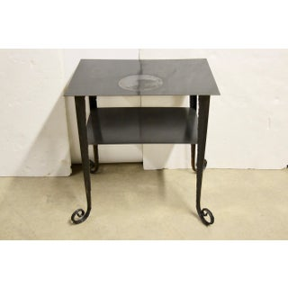 Brutalist-Style Blackened Iron Side Table Preview