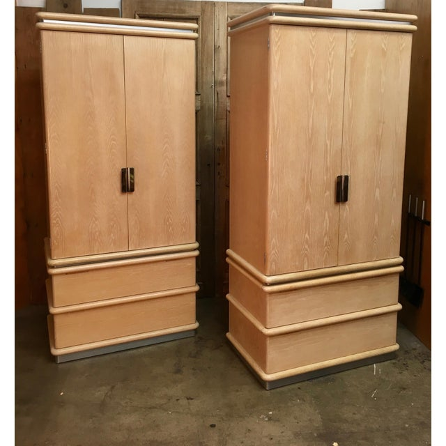 Pair of Jay Spectre for Century furniture bleached oak with brushed steel trim tall chests. Massive storage space with...