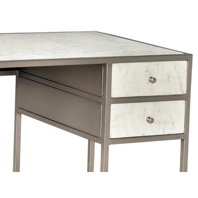 Stunning white and grey toned Banswara marble desk with antiqued nickel finish iron frame and hardware. Two drawers and...