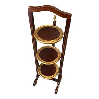 1980s Gilded Wood 3-Tier Pie Server For Sale