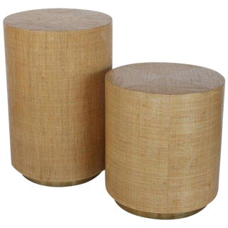 Karl Springer Style Modern Grasscloth and Brass Side Tables For Sale