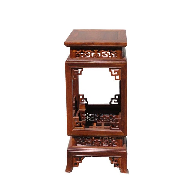 Asian Chinese Yellow Rosewood Square Carving Plant Stand Pedestal Table For Sale - Image 3 of 5