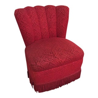 Original 1950's Red Frisse Fringed Slipper Chair