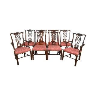 Hickory Chair Co. Chippendale Style Set of 8 Mahogany Dining Chairs For Sale
