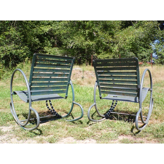 Art Deco Patio Metal Hoop Rocking Chairs - A Pair - Image 5 of 10