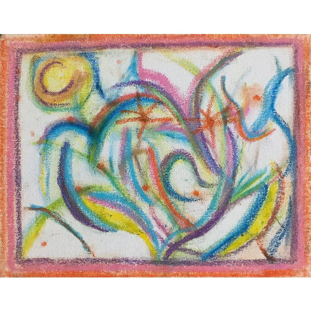 For your consideration we are presenting for sale a colorful vintage abstract drawing done on stretched canvas that dates...