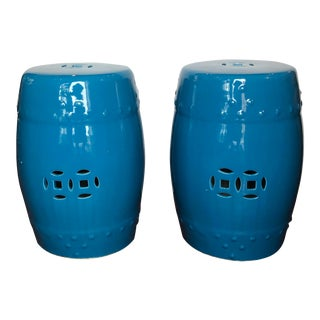 Cerulean Blue Ceramic Garden Stools - a Pair For Sale