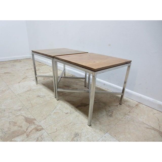 Mid-Century Modern Tomlinson Milo Baughman Mid-Century Walnut Aluminum End Tables - A Pair For Sale - Image 3 of 8