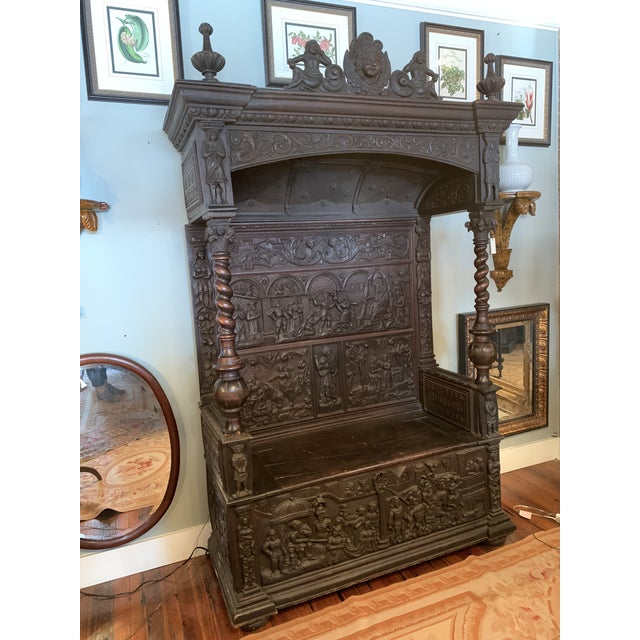 16th Century Antique High Gothic Pictorial Bench For Sale - Image 12 of 12