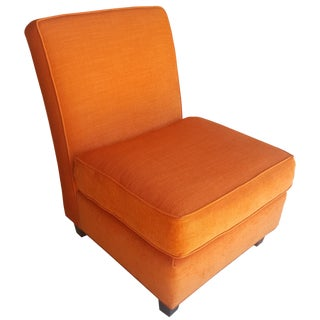 Orange Chenille Slipper Chair