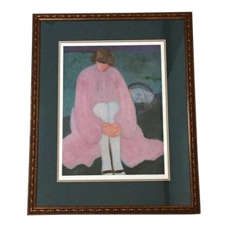 "Vintage Female Portrait Limited Edition Hand Signed ""White Stockings"" Print by Barbara A. Wood, Framed For Sale"