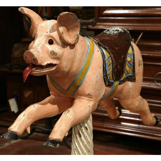 Late 19th Century 19th Century French Carved Painted Carousel Pig For Sale - Image 5 of 11