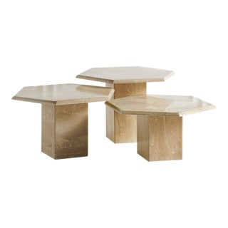 Trio of Hexagon Travertine Tables