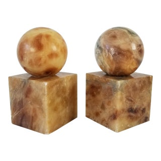 Vintage Italian Geometric Shape Alabaster / Marble Bookends- a Pair For Sale