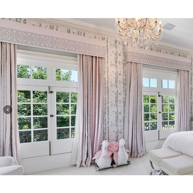 Neoclassical Blushing Beige Colefax & Fowler Designer Drapery Full Window Treatment 1 of 2 For Sale - Image 3 of 4