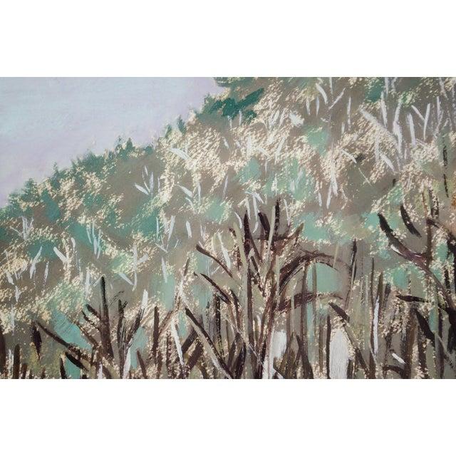 Sky Blue Modern Impressionist Watercolor Mountain Landscape For Sale - Image 8 of 11