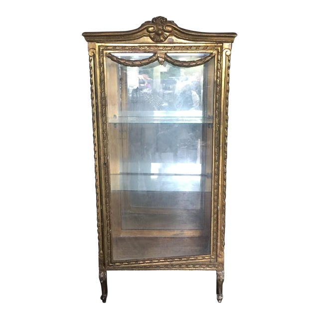 gilded antique glass vitrine chairish. Black Bedroom Furniture Sets. Home Design Ideas