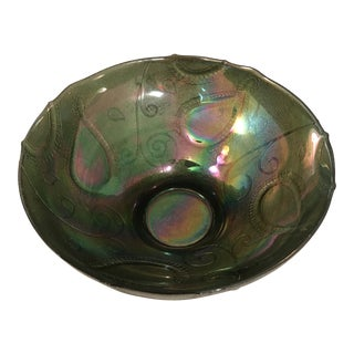 Vintage Multi-Color Green Carnival Glass Serving Bowl For Sale