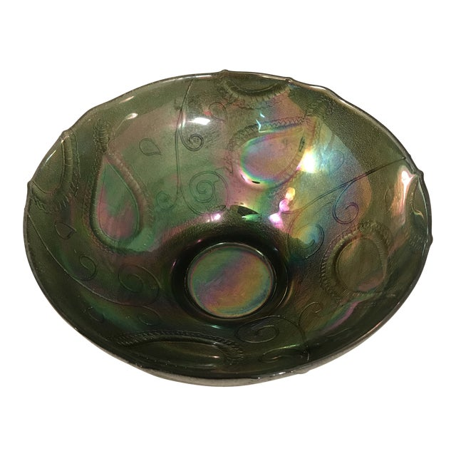 Vintage Multi-Color Green Carnival Glass Serving Bowl For Sale