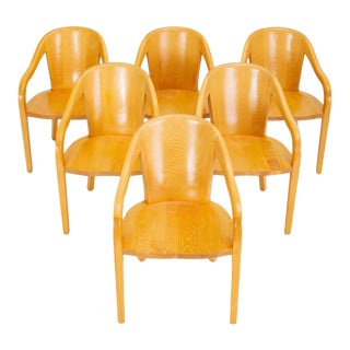 1970s Ward Bennett for Brickel Associates University Chairs - Set of 6 For Sale