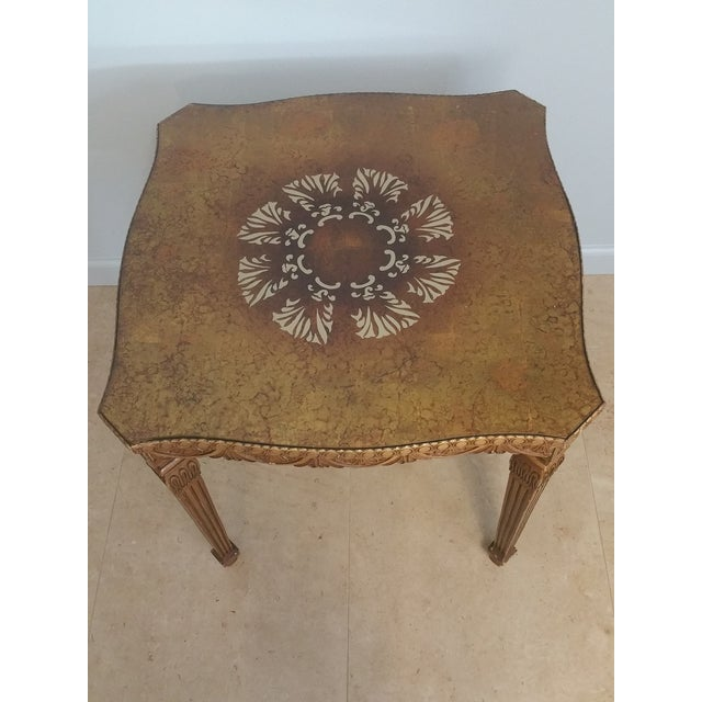Vintage French Style Hollywood Regency Glass Top Table - Image 2 of 4