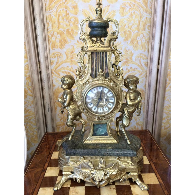 Rococo French style marble and bronze mantel clock - with original winding key! Extremely heavy bronze and green marble...