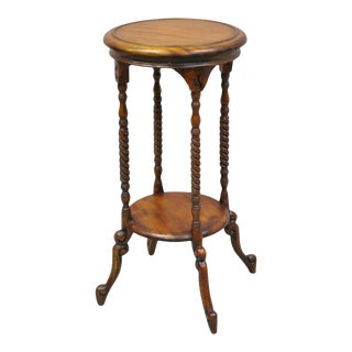 Victorian Style Reproduction Mahogany Wood 2 Tier Round Plant Stand For Sale