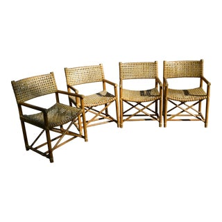 McGuire San Francisco Bamboo & Woven Lattice Rawhide Arm Chairs - Set of 4 For Sale