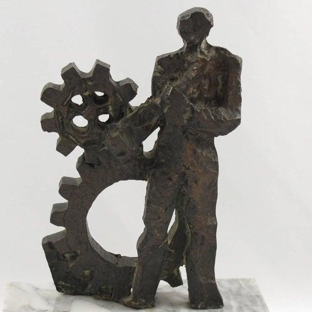 Mid-Century Modernist Brutalist Bronze Sculpture For Sale - Image 4 of 11